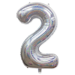 "Number ""2"" Silver Glitter (100cm.)"