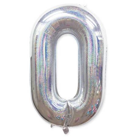 "Number ""0"" Silver Glitter (100cm.)"